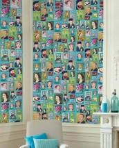 Papel pintado Hurakan Mate Retratos Azul claro Azul pálido Violeta érica Verde guisante Rosa