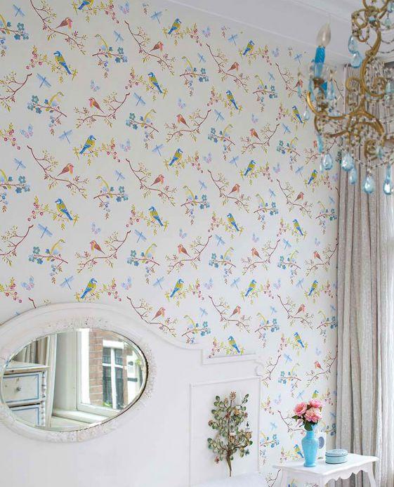 Papel pintado animales Papel pintado Audrey blanco crema perla lustre Ver habitación