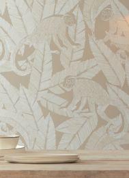 Carta da parati Arlo bianco crema brillante