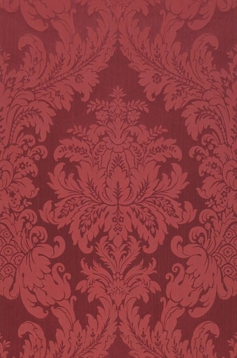 Wallpaper Odilia Matt pattern Shimmering base surface Baroque damask Wine red Rosè