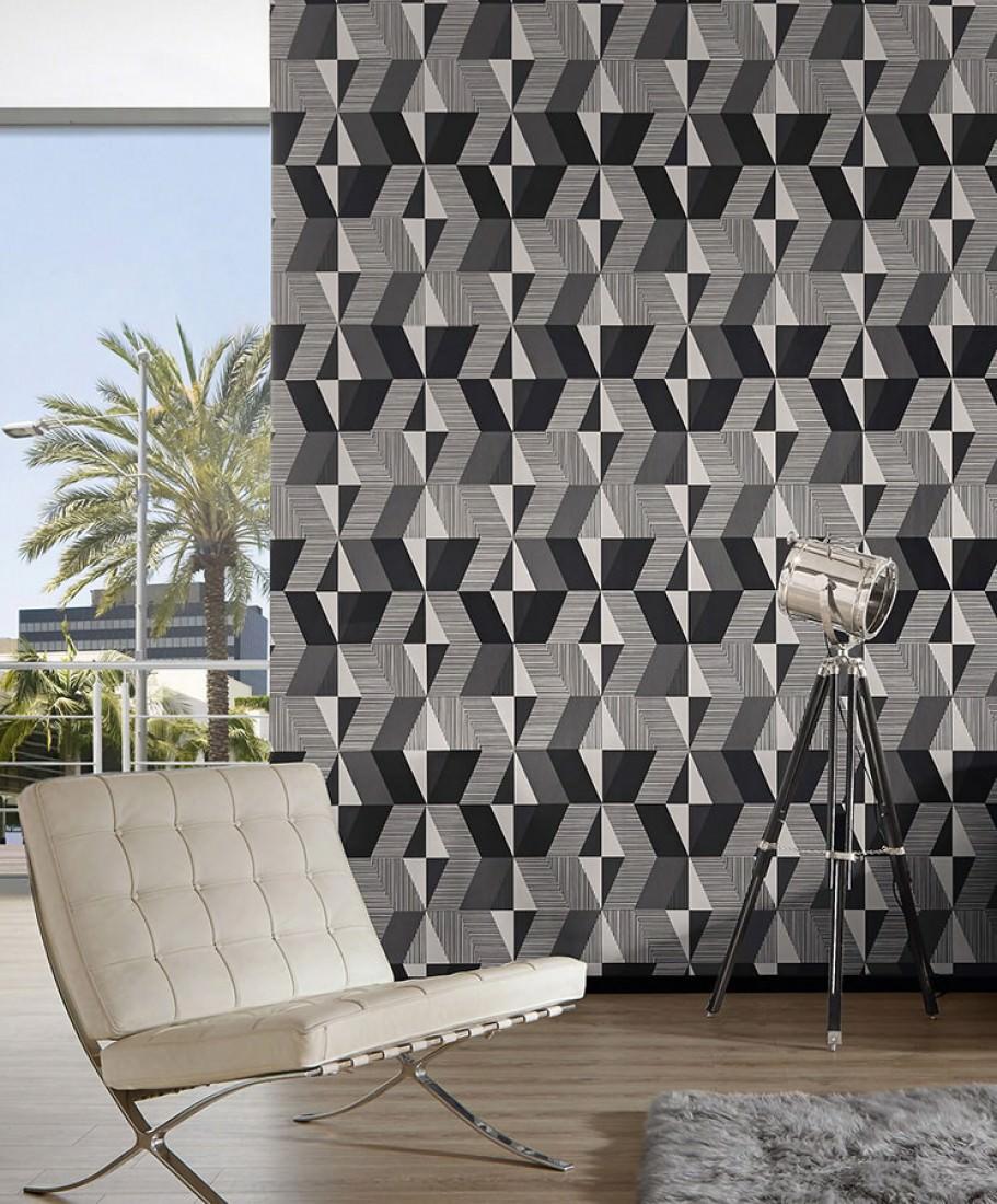 papier peint aaron blanc cr me tons de gris papier peint des ann es 70. Black Bedroom Furniture Sets. Home Design Ideas