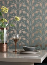 Wallpaper Fadila Hand printed look Matt pattern Shiny base surface Art Deco Stylised blossoms Gold lustre Mint turquoise