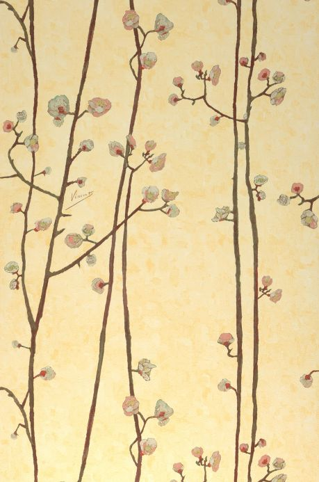 Botanical Wallpaper Wallpaper VanGogh Branches pale yellow Roll Width