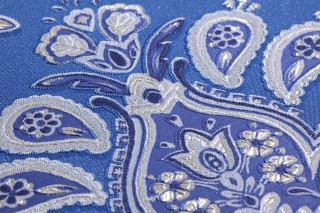 Tapete Adeline Matt Florale Ornamente Blau Violettblau Weissaluminium Weissblau