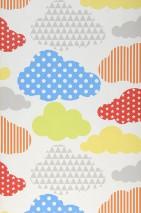 Papel pintado Cendie Mate Nubes Blanco Azul Amarillo Gris Naranja Rojo