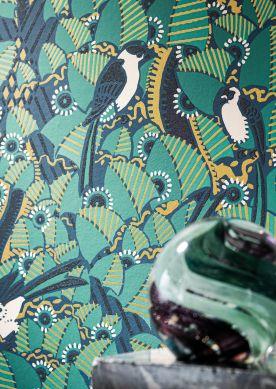 Papel pintado Dorothy verde turquesa Raumansicht
