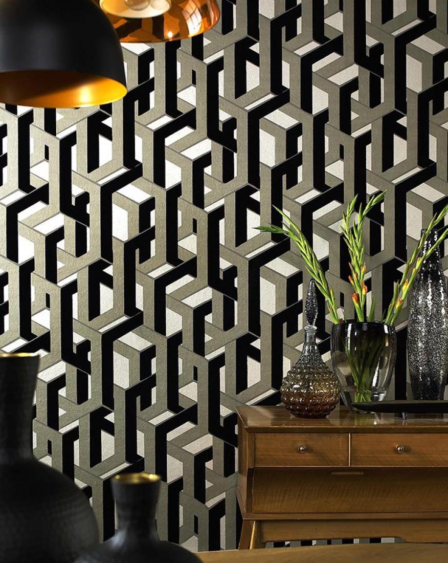 tapete frogalom perlbeige schimmer schwarz silbergrau. Black Bedroom Furniture Sets. Home Design Ideas