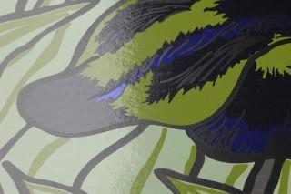 Wallpaper Iris Chrome effect Shimmering Lilies Pastel green Chrome lustre Light olive green Sapphire blue Black