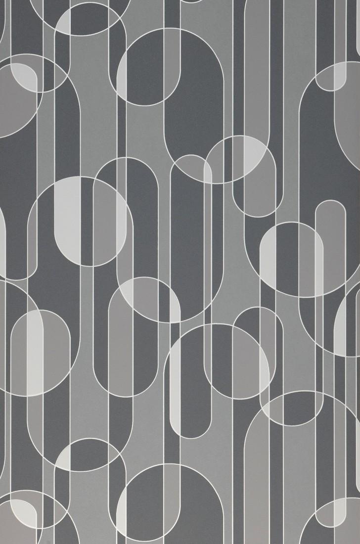 Greys /& White Modern // Retro Washable Vinyl Wallpaper Circular Design