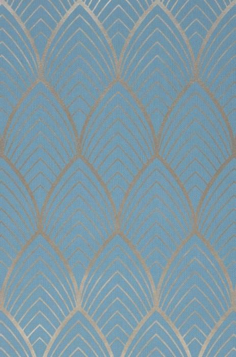 Papier peint Soana Motif mat Surface chatoyante Art Déco Courbes Or blanc Bleu clair