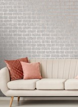 Wallpaper Simson Matt pattern Shimmering base surface Bricks Rosewood shimmer White grey
