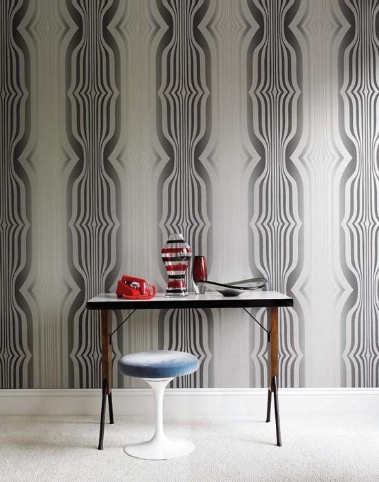 Wallpaper Mandulis Shimmering pattern Matt base surface Retro elements Anthracite grey Platinum grey Silver