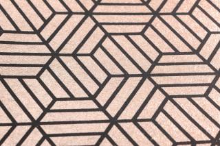 Papier peint Rania Motif mat Surface chatoyante Hexagones Bois de rose chatoyant Noir