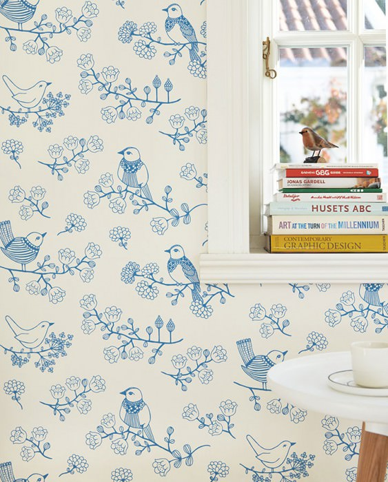 Wallpaper Sugar Tree Hand printed look Matt Flowers Birds Cream Blue