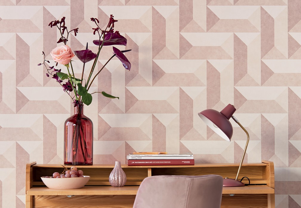 Wallpaper Rekel Matt Geometrical elements Pale rosewood Light beige Rosewood White