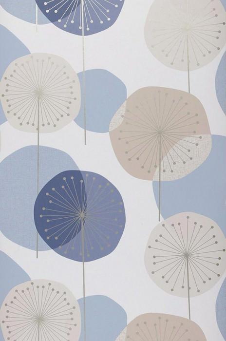 Papel de parede Muriel Mate Flores estilizadas Branco azulado Azul Bege acinzentado claro Azul acinzentado claro Prata