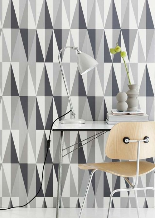 Wallpaper Spear Matt Geometrical shapes Cream Dark grey Light grey