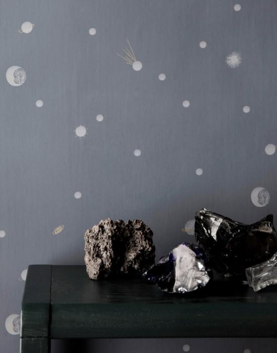 Carta da parati Moon Opaco Luna Pianeti Cielo stellato Grigio Grigio chiaro  Oro perlato