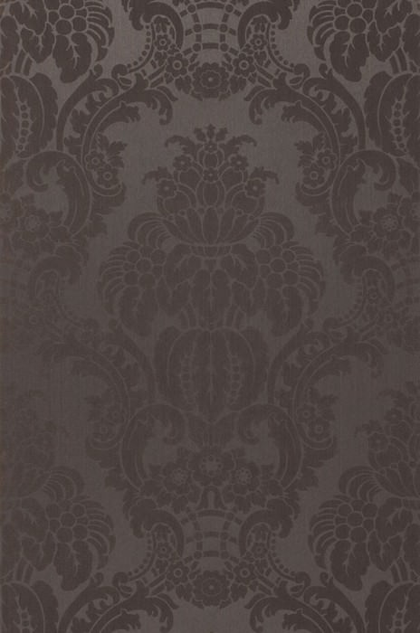 Wallpaper Leandra Shimmering Baroque damask Anthracite Black grey