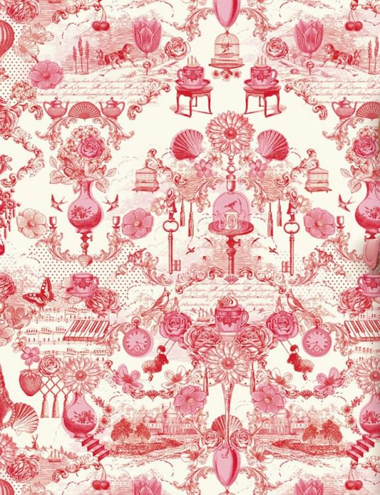 Wallpaper Kama Matt Toile de Jouy Cream Rose Red