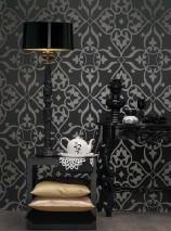 Papel de parede Boreas Padrão reluzente Superfície base mate Damasco moderno Cinza negrusco Antracite lustre