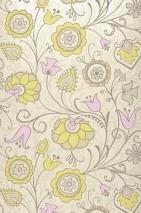 Wallpaper Flora Matt pattern Shimmering base surface Stylised flowers Cream shimmer Beige Pale grey brown Light yellow green Light grey Rose