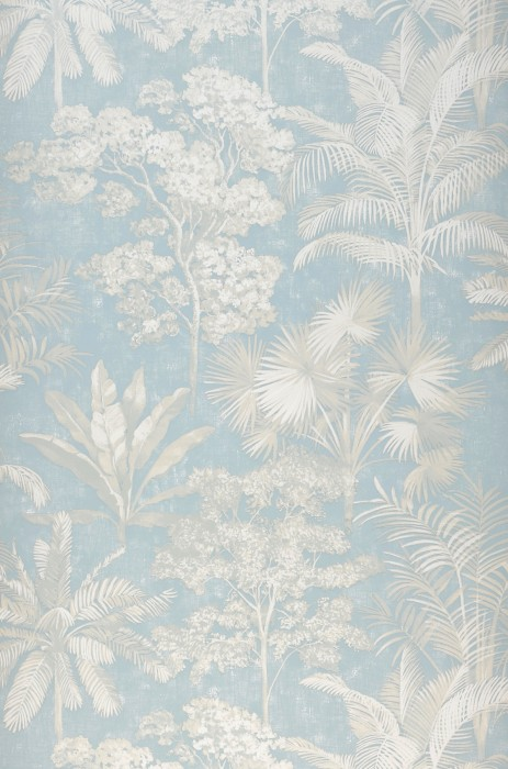 Wallpaper Alenia Shimmering pattern Matt base surface Trees Leaves Palm trees Light blue Cream White