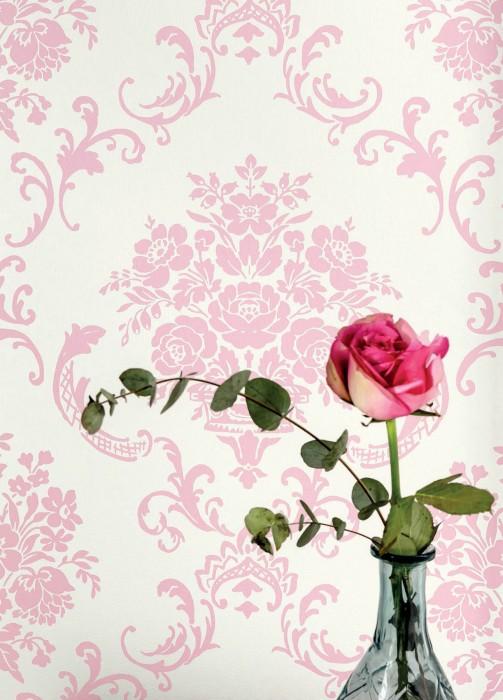 Papel pintado Emmeline Mate Damasco floral Blanco crema Rosa pastel