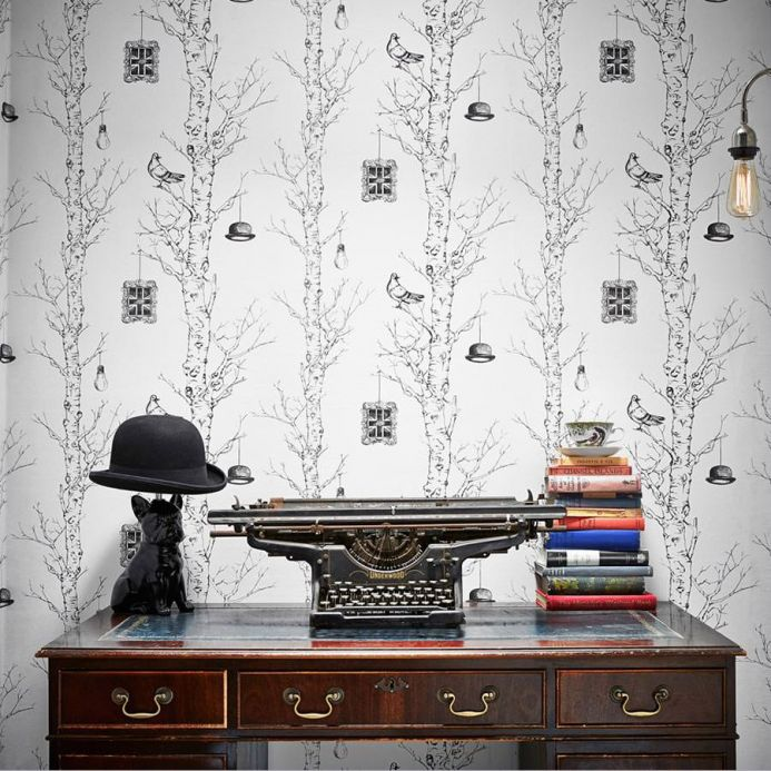 Archiv Wallpaper British Trees anthracite Room View