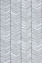 Wallpaper Herringbone Matt Graphic elements Grey white Black