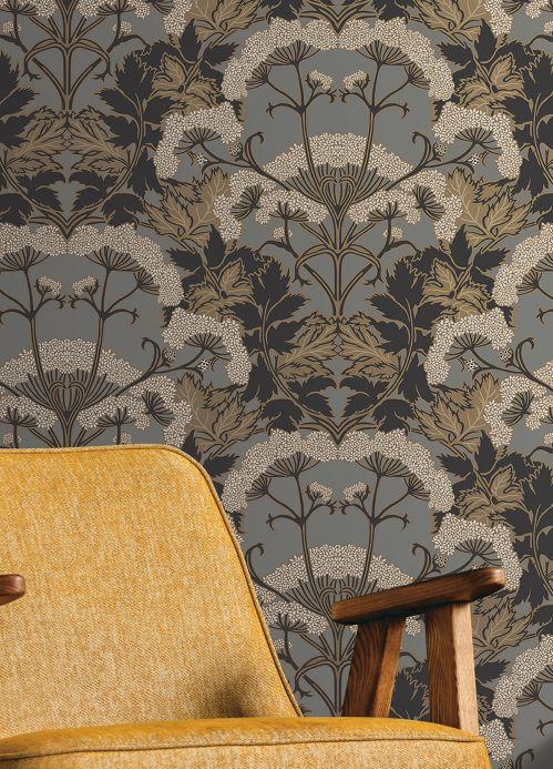Papel pintado clásico Papel pintado Zarabia gris Ver habitación
