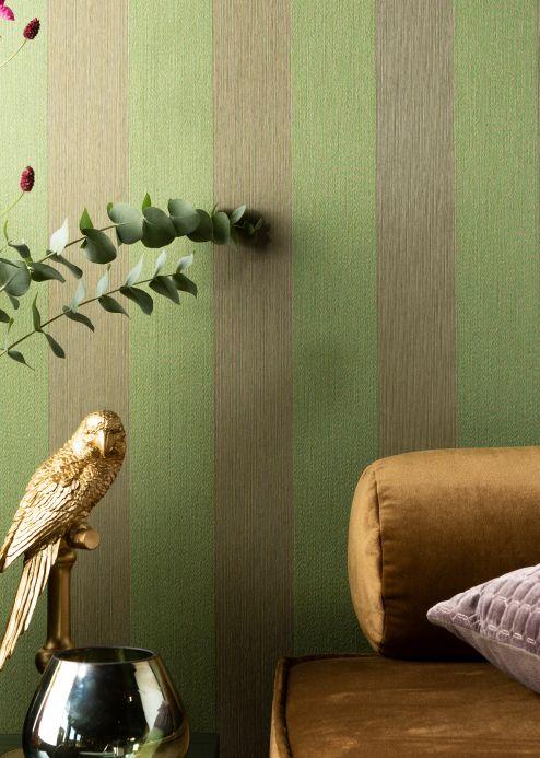 Striped Wallpaper Wallpaper Bamana pea green Room View