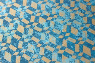 Wallpaper Zopara Shimmering pattern Matt base surface Graphic elements Dark blue Pastel blue Pearl gold
