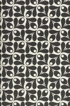 Wallpaper Tellus Matt Small stylised flowers Cream Black