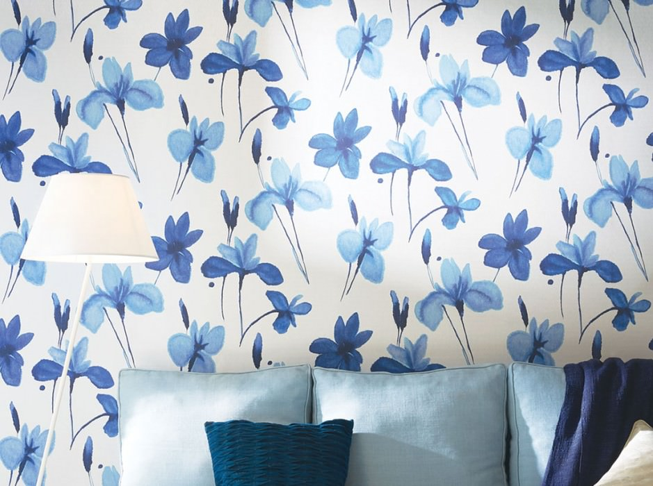 Wallpaper Tiara Matt Blossoms Grey white Pastel blue Ultramarine