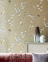 Wallpaper Francine Matt pattern Shimmering base surface Butterflies Birds Branches with leaves and blossoms Pearl beige Beige Cream Grey Grey beige Light pink
