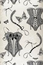 Tapete Zalina Muster matt Untergrund schimmernd Dessous Handschellen Ketten Hellelfenbein Cremeweiss Schwarz