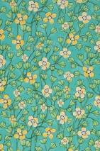 Papel pintado Videnna Mate Flores zarcillos Turquesa Azul grisáceo perla lustre Verde claro Amarillo limón