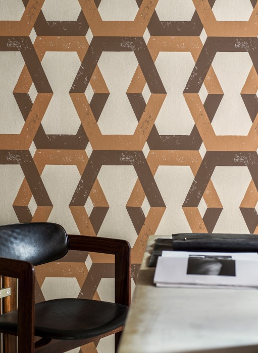 Wallpaper Banga Matt Geometrical elements Cream Clay-brown Chocolate brown