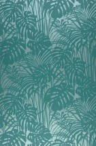 Wallpaper Persephone Matt pattern Shimmering base surface Palm fronds Pale green pearl lustre Turquoise green