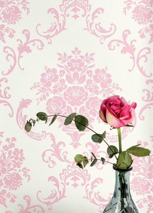 Papel de parede damasco Papel de parede Emmeline rosa pastel Ver quarto