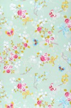 Wallpaper Benina Matt Blossoms Butterflies Branches Pastel green Strawberry red Yellow Yellow green Light blue White