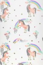 Wallpaper Daria Shimmering pattern Matt base surface Unicorns Rainbows Stars Clouds Cream Beige red Gold glitter Grey glitter Green Violet