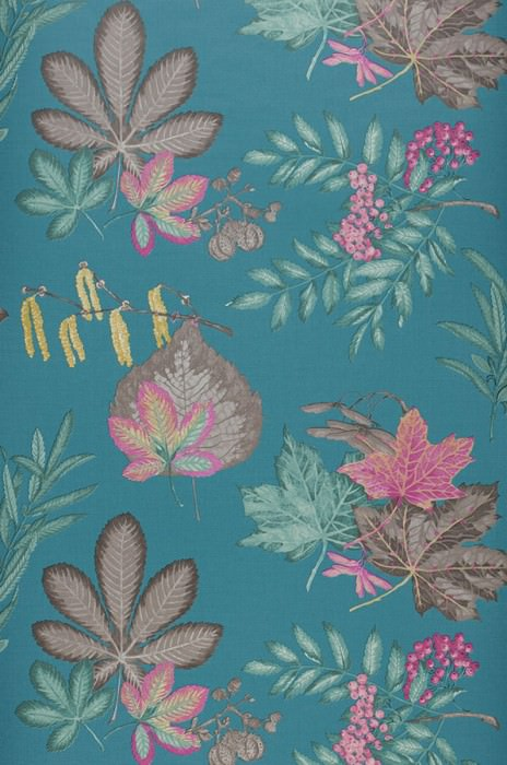 Wallpaper Samarina Matt Leaves Fruits Blue Green Grey brown Light yellow Magenta
