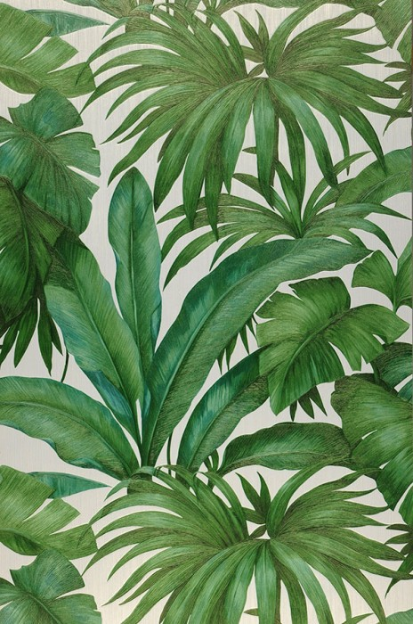 Wallpaper Yasmin Shimmering Leaves Cream Shades of green