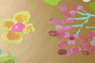 Wallpaper Undine Matt pattern Shimmering base surface Birds Branches with leaves and blossoms Gold Blue lilac Yellow green Light blue Honey yellow Violet