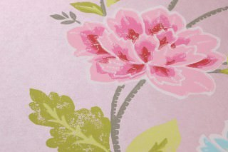 Papel pintado Forseti Efecto impreso a mano Mate Flores Rosa pálido Amarillo pálido Verde Azul claro