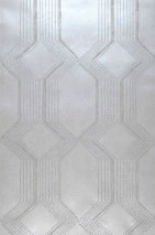 Wallpaper Xander Shimmering Geometrical elements Stripes White aluminium Grey white glitter Light grey