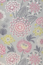 Wallpaper Grisella Matt Stylised flowers Agate grey Cream Yellow green Red violet Slate grey