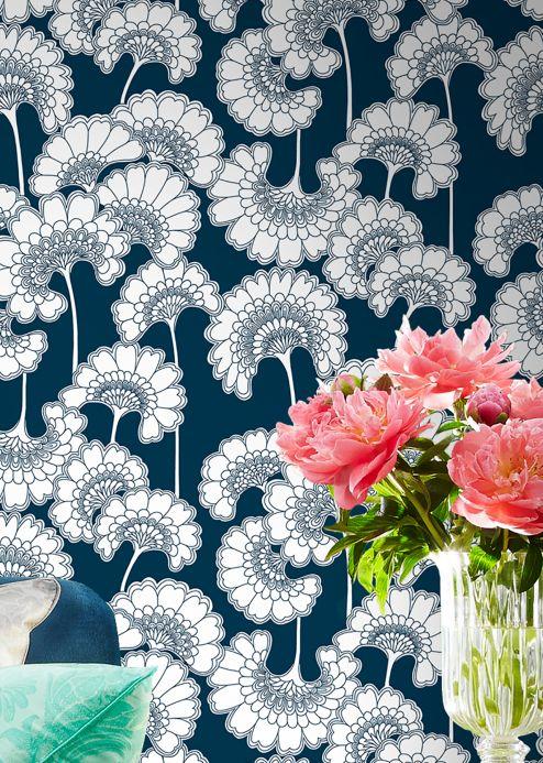 Floral Wallpaper Wallpaper Ornate steel blue Room View